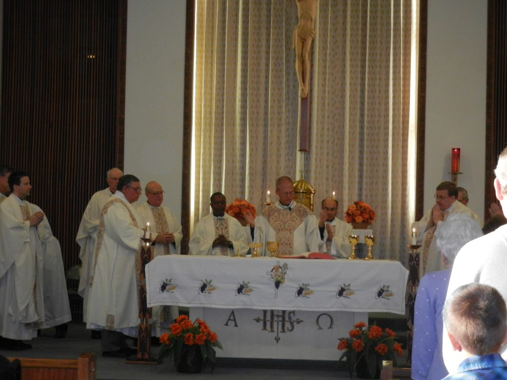 Bishop Etienne and Priest Concelebrants, St. Paul's 100th Anniversary Mass