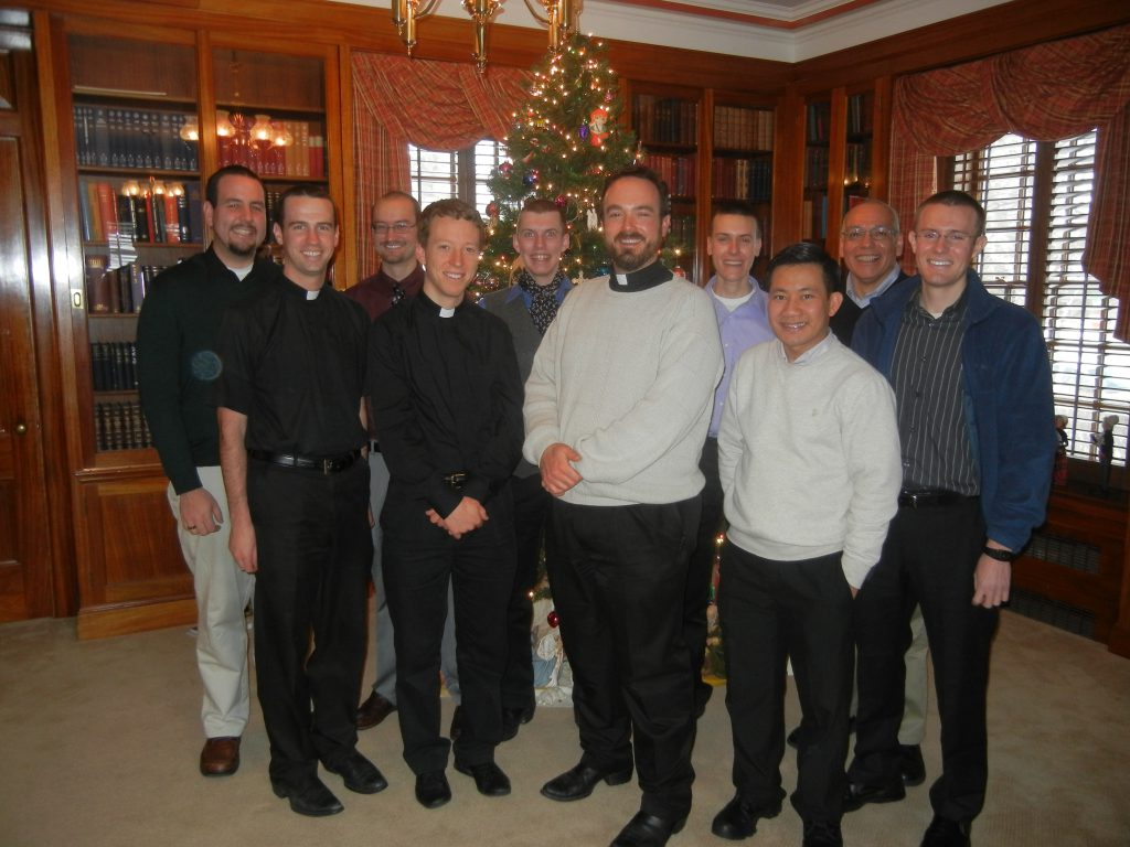 Andrew Kinstetter, Deacon Brian Hess, Joe Hurdle, Deacon Bob Rodgers, Kellen Washut, Fr. Bill Hill (Vocations Director), Kaycee McKee, Linh Vu, Augustine Carillo, Clark Lenz.  Absent are Dylan Ostdick and Hiep Nguyen.