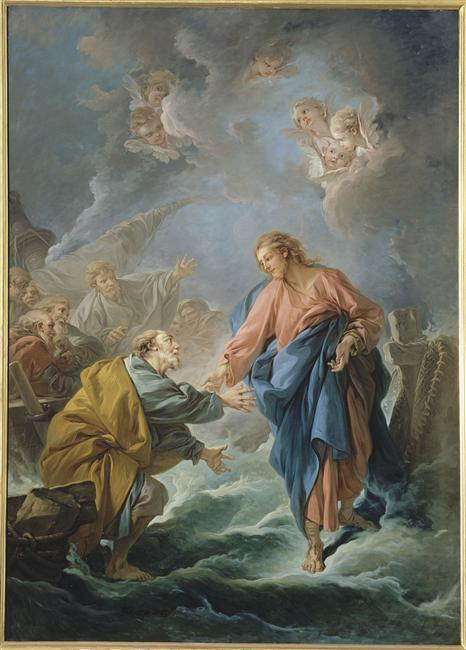 Jesus Invites Peter to walk on water.  Francois Boucher, 1766