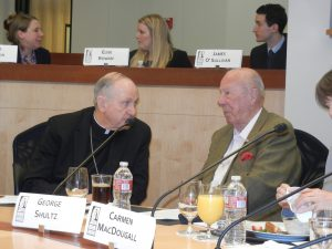 Bishop Richard Pates, Chairman of USCCB Committee on International Justice and Peace with Secretary George Schultz at Colloquium on Nuclear Disarmament at Stanford University
