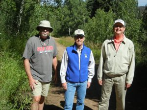 Bishop Coyne, Auxiliary Bishop of Indianapolis, Bishop Thompson, Bishop of Evansville, Bishop Doherty, Bishop of Lafayette, Indiana, hiking in the Laramie Range, Wyoming.