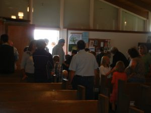 Social gathering following Mass, St. Christopher, Eden.