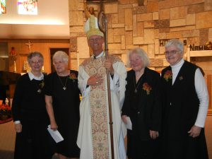 Sr. Josetta, Sr. Hope, Bishop Etienne, Sr. Gladys and Sr. Regina