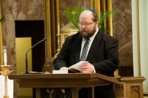 Rabbi Moldo chants Psalm 72 during Interfaith Prayer Service at St. Mary's Cathedral.