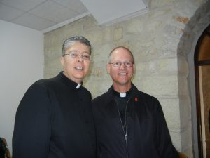 Bishop Etienne with Fr. Aktham Jijazin in Beit Jala, Palestine