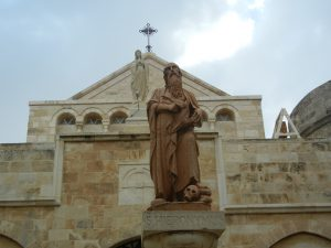 Statue of St. Jerome in front of St. Catherine's Church, Bethlehem