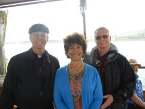 Mary Jane and Tom Fox with Bishop Etienne, Sea of Galilee
