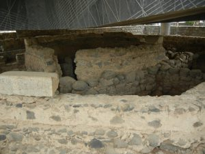 Excavations of St. Peter's house, beneath the modern day church marking the spot.