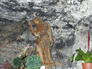 Statue of the Prophet Elijah in cave within the church of Santa Maria Stella Maris.