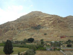 Mount of Temptation; Judean Desert as seen from Jericho