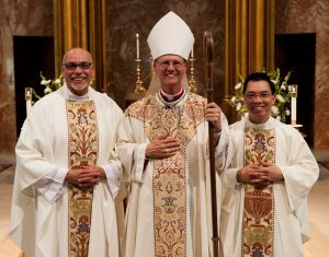 Rev. Augustine Carrillo, Bishop Etienne, and Rev. Hiep Nguyen