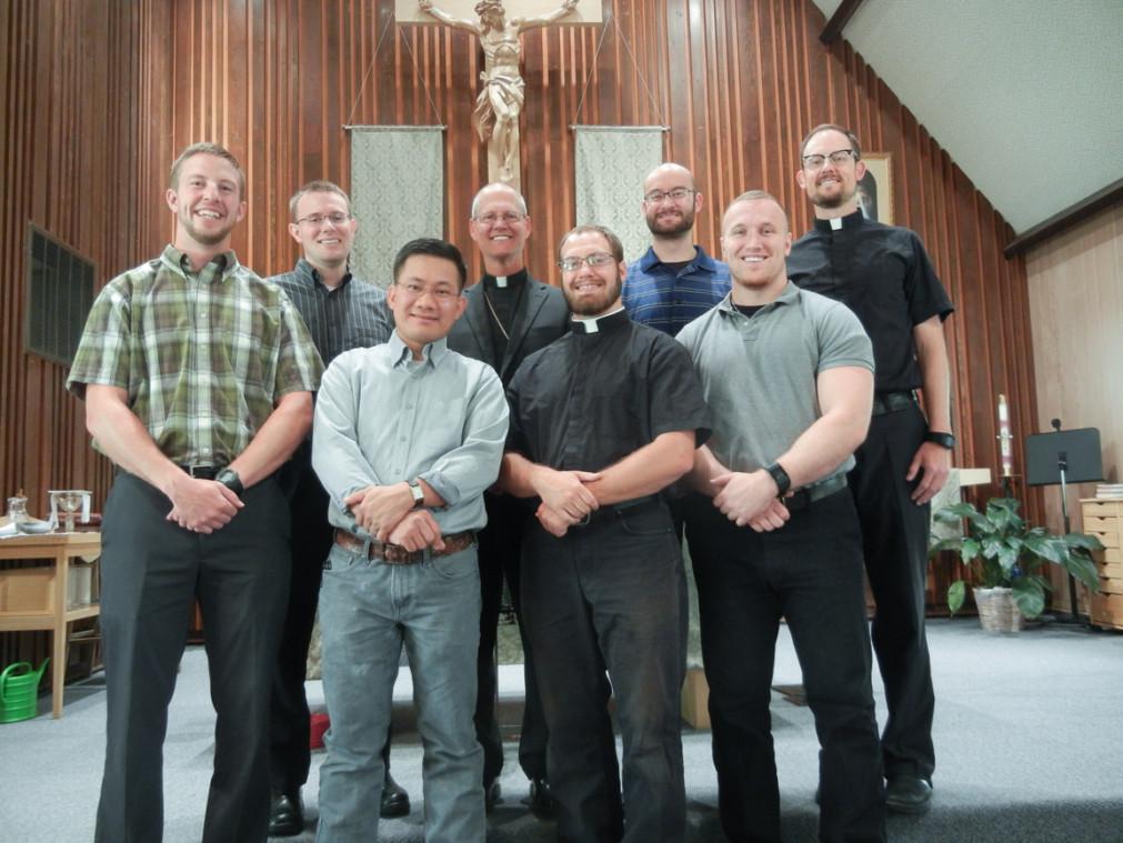 Cheyenne seminarians with Vocation Director, Fr. Steve Titus and Bishop Etienne